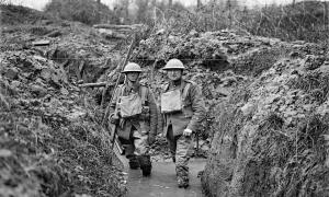 Two soldiers in the trenches
